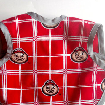 Ohio State University - OSU -Ohio Buckeyes -  Handmade Baby Bib - Bapron - Toddler Bib - Reversible Baby Bib - Clothing Protector - Cover Up