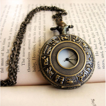 Large Horoscope Pocket Watch Necklace by sodalex on Etsy