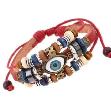 Handmade Turkish Evil Eye Leather Bracelet Wristband Jewelry