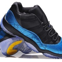 Air Jordan 11 Low Snakeskin Blue Basketball Shoes