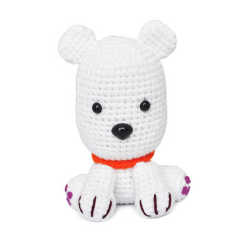White Dogs Handmade Amigurumi Stuffed Toy Knit Crochet Doll VAC