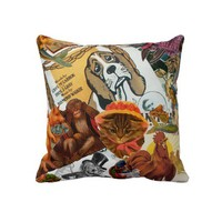 Vintage Animal Collage Pillows from Zazzle.com