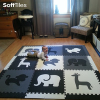 SoftTiles Safari Animals Kids Play Mat Sets with Borders Black, Gray, White