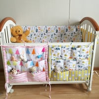 Baby Bed Hanging Storage Bag Multi Colors muslin tree Baby Cot Hanging Storage Bags Baby Bedding Bumpers 55*60cm