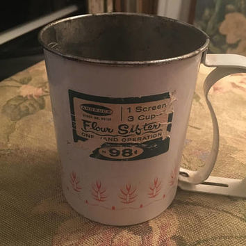 Androck Flour Sifter, 3 cup flour sifter, kitchen utensil, kitchen accessory, cakes and pastries, vintage sifter, original sticker