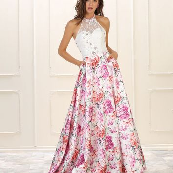 Prom Long Floral Print Dress Formal Gown