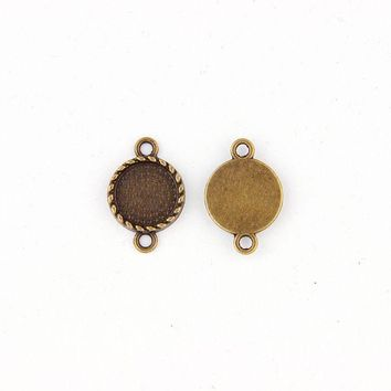 Fit12mm Round Antique Bronze Pendants Setting Cabochon Cameo Base Tray Bezel Blank DIY Jewelry  Findings