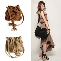 Vintage Fringe Tassel Women's Shoulder Drawstring Messenger Handbag Bag Buckets