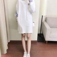 """Adidas"" Women Sport Casual Medium Long Section Hooded Sweater Stripe Shirt False Two-Piece Mini Dress"