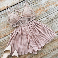 Fashion Sexy Hollow Lace Strap V-Neck Sleeveless Backless Ruffle Shorts Romper Jumpsuit