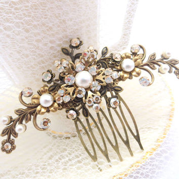 Antique brass hair comb, Bridal hair comb, Wedding hair accessory, Flower hair comb, Rhinestone heade piece, Vintage style hair comb