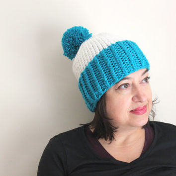 Chunky Pom Pom Hat, Knit Beanie, Blue and White Hat, Winter Fall Warm Beanie, Women's Accessories, Gifts for Her, Pom Pom Hat