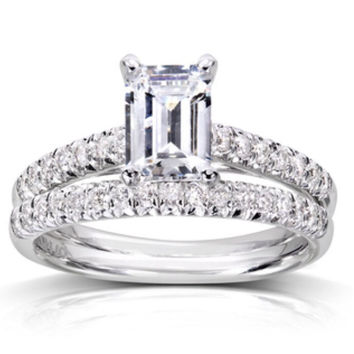 Emerald cut Diamond Solitaire Engagement Ring/ Wedding Band Set with pave'd Bands. Set in Rhodium Plated Sterling.