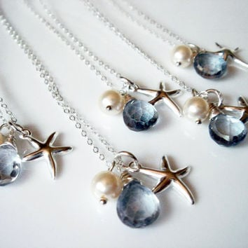 Beach Theme Wedding Starfish Blue Quartz 925 Necklace. Bridesmaid Gift. Bridal Jewelry. Beach Wedding