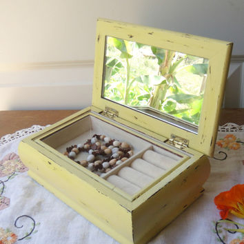 Vintage Butter Yellow Wooden Jewelry Box - Shabby - Distressed - Fabric Top Trinket Box - Jewellry - Removable Tray  Upcycled Mirror