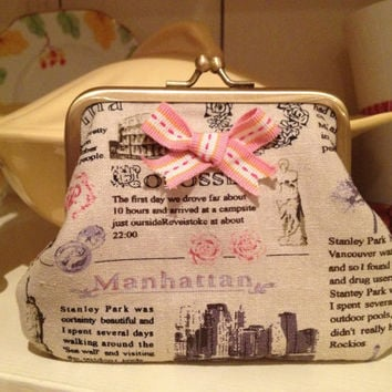 Vintage style News paper retro print coin purse wallet