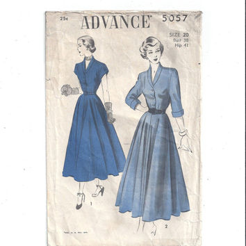 Half Price Advance 5057 Pattern for Misses' Hour-Glass Dress, Plus Size 20, From 1940s, Vintage Pattern, NON Print Pattern, NO Instructions