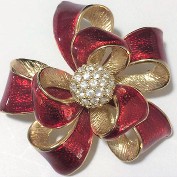 Red Enamel Bow Brooch Pin Signed Roman Crystal Rhinestone Center Gold Tone 518 Romantic Holiday Vintage Jewelry 518