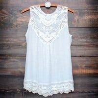 gypsy crochet lace gauzy sleeveless tank top