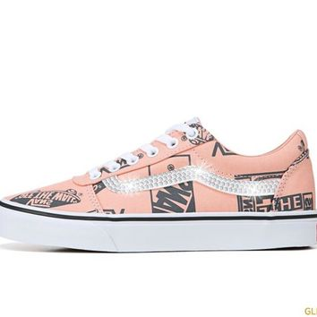 Women's Vans Ward Low Top Sneakers + Crystals - Peach/Black