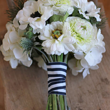 Nautical Seaside Navy and White Wedding Bouquet