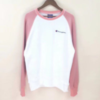Champion New fashion bust embroidery letter contrast color splice long sleeve top shirt