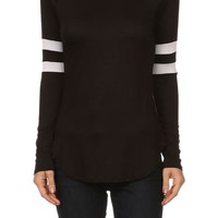 Casual Solid Jersey Stretch Knit Long Striped Sleeve Slim Tee Shirt Top