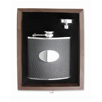Black Faux Leather Stainless Steel Flask - Engravable Personalized Gift Item