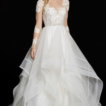 Hayley Paige 'Elysia' Long Sleeve Lace & Tulle Ballgown (In Stores Only) | Nordstrom