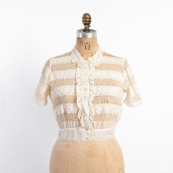 Vintage 30s BLOUSE / 1940s Sheer Ivory Embroidered Cropped Lace Top with Faggotting xs - s