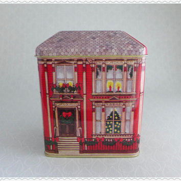 Decorative Vintage Christmas Tin, Figural Building Tin, Red Victorian House, Holiday Decor, Metal Gift Box, Tea Tin, The Tinsmiths Craft