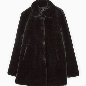 Black faux-fur coat - CLOTHING - WOMAN | Stradivarius United Kingdom