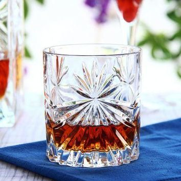 Crystal Fashioned Whiskey Scotch Glasses Excellent For Cocktail Large 10 oz Wine Whisky Enthusiasts Glassware Floral Design Set of 2