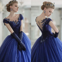 Back 2016 Elegant Scoop Applique Beading Long Royal Blue Prom Dress See Through Evening Dresses Party Gowns
