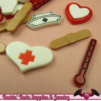 5 pcs MEDICAL Nurse Related Decoden Flatback Kawaii Cabochons