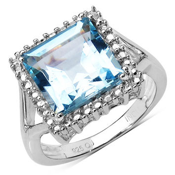 5.80 Carat Square Blue Topaz Sterling Silver Ring