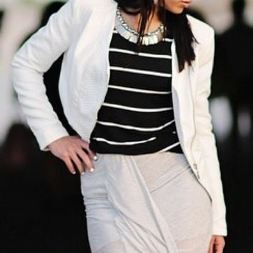 Beulah Style White Faux Leather Moto Jacket S (Small/Indie Brands)