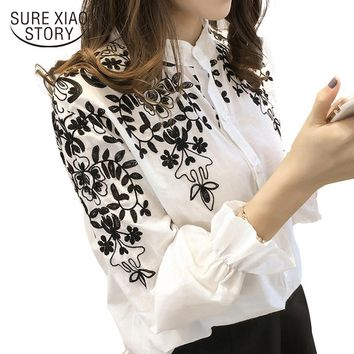 New Arrival Fashion embroidery women's clothing long Sleeve Casual Women Blouse shirt office lady women tops blusas 529E 30