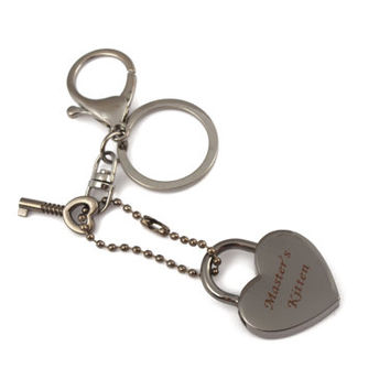 Pet play kitten padlock charm keyring set! Engraved lock BDSM keyring. Master's kitten charm for littles, pets or abdl.