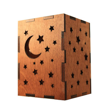 Moon and stars tealight lantern Wood candle holder Shadow box Led flameless candle Laser cut candleholder Led light Night light Wood light