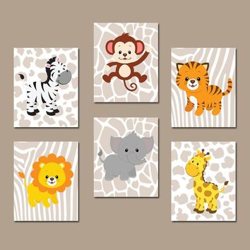 Safari JUNGLE Animals Wall Art, Jungle Animals Nursery Decor, Safari CANVAS or Print, Zoo Animal Theme, Jungle Animal Pictures, Set of 6