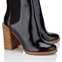 Black Leather Wooden Heel Boots