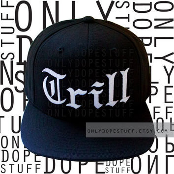 Trill Snapback Flat Bill Cap Black Hat Women Girls Men Boys Unisex Embroidery Embroidered Fitted Cap Burgundy One Size Fits All Adjustable