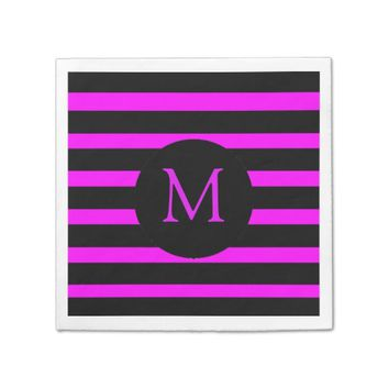 Modern Hot Pink and Black Stripes Monogram Paper Napkin