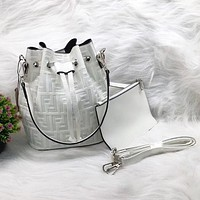 Fendi Fashion New More Letter Leather Two Piece Suit Leisure Shopping Bucket Bag Shoulder Bag  White