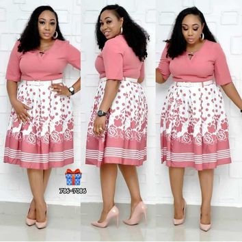 African clothing Floral Print Elastic Bazin Dashiki dress Women fashion stretch Plus Size Pink Flowers Print Summer Dress with belt
