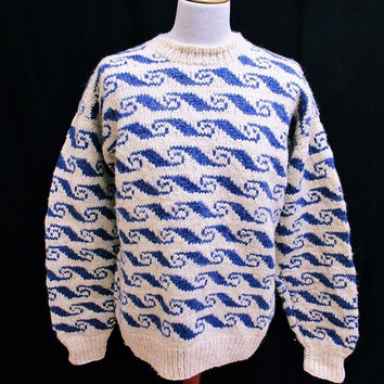 Vintage 90s Shaker Geometric Waves Wool Blend Plain Jumper Sweater Medium