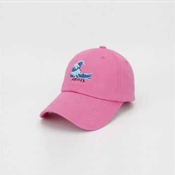 Yung Lean Sad Boys Wave Embroidery Vaporwave Strapback Patchwork Cap Swag Gorras Pink Dad Hat for Men & Women Adjustable Fishing Cap