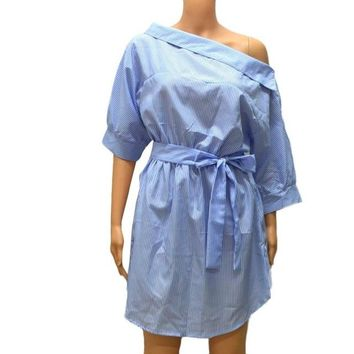 Shirt Dress Blue Striped Oblique Half Sleeve Off the Shoulder Loose Casual Boyfriend Summer Sexy Dress Vestidos Curtos#B720