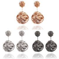 F&U E032 Exquisite Jewelry Two Hollowing Balls Gold Silver plated Double Sides Hollowed out High Quality stud DR Earrings #1875